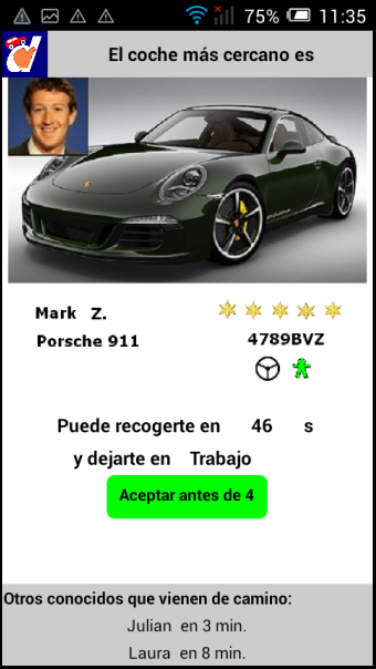 Pantalla App Urban Carpooling DedoCar Web