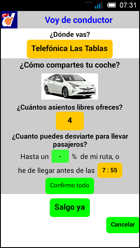 2 Fijar condiciones del viaje del conductor