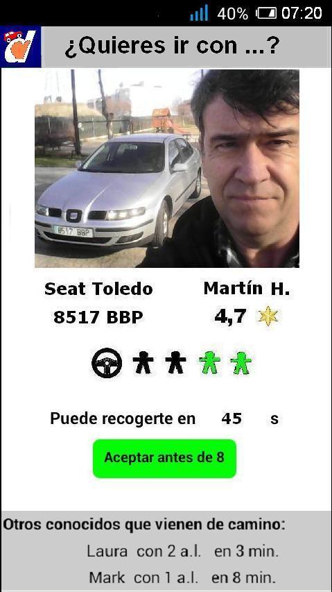 La app. te propone el conductor compatible más cercano, y te dice por donde vienen tus conductores conocidos.